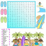 Summer Vacation Wordsearch With Key   English Esl Worksheets