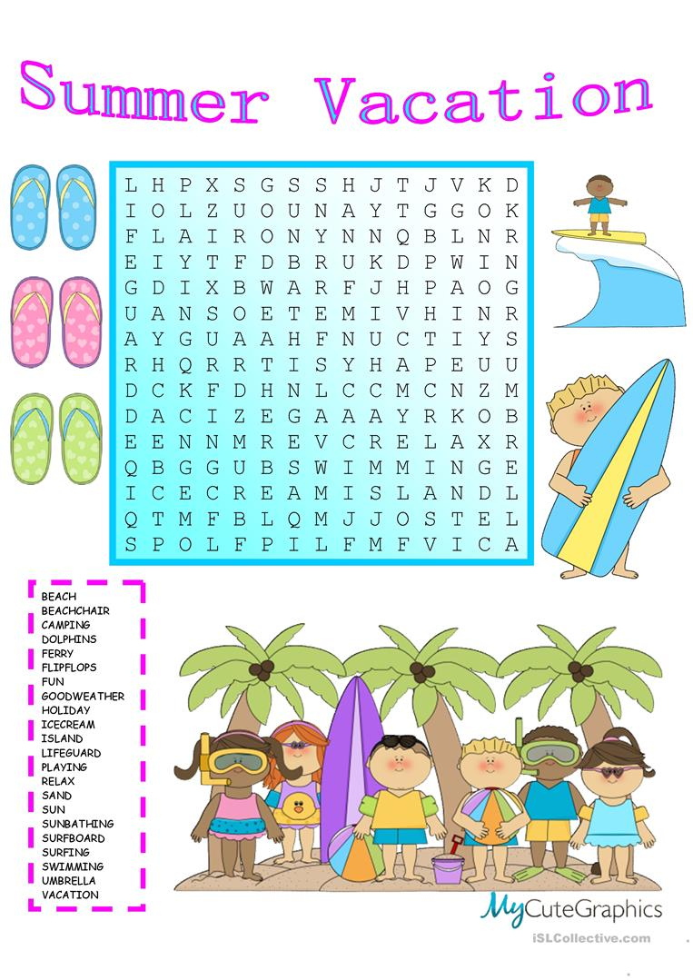 Summer Vacation Wordsearch With Key - English Esl Worksheets