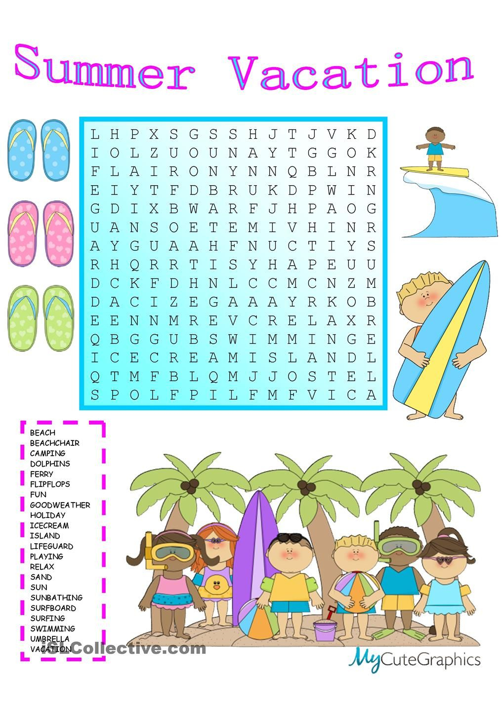 Summer Vacation Wordsearch With Key | Summer Vocabulary