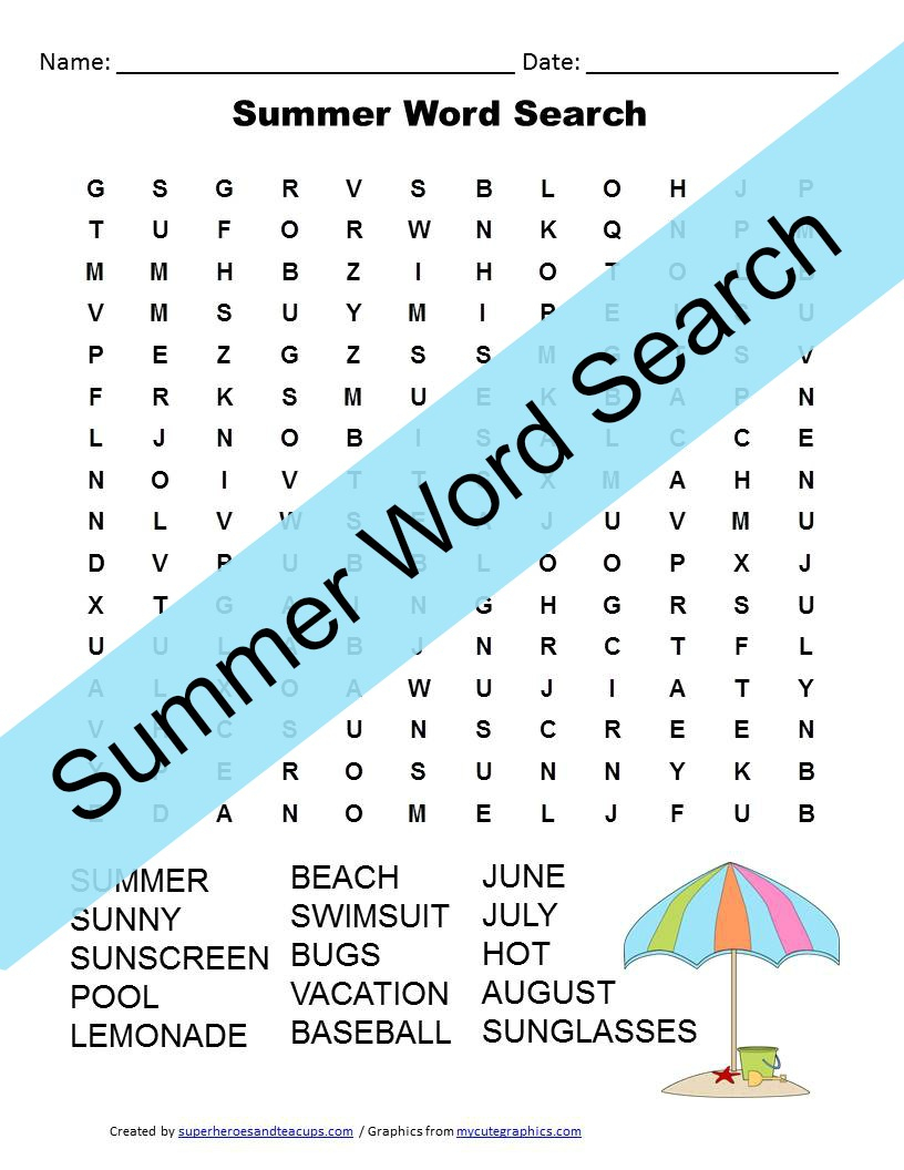 Summer Word Search Free Printable For Kids | Superheroes And