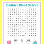 Summer Word Search Free Printable Worksheet For Kids