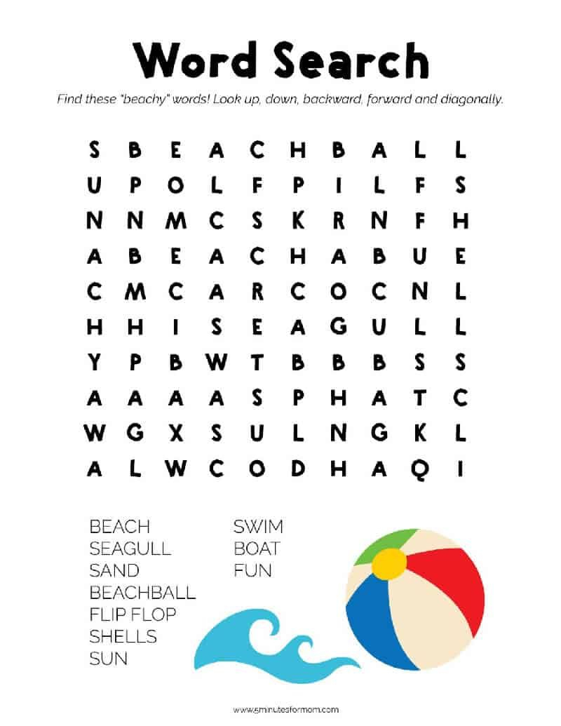 Summer Word Search Puzzles For Kids | Word Puzzles For Kids