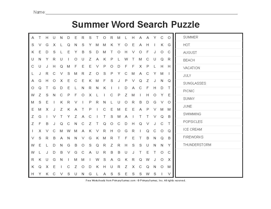 Summer Worksheets: Summer Word Search Puzzle • Free Online