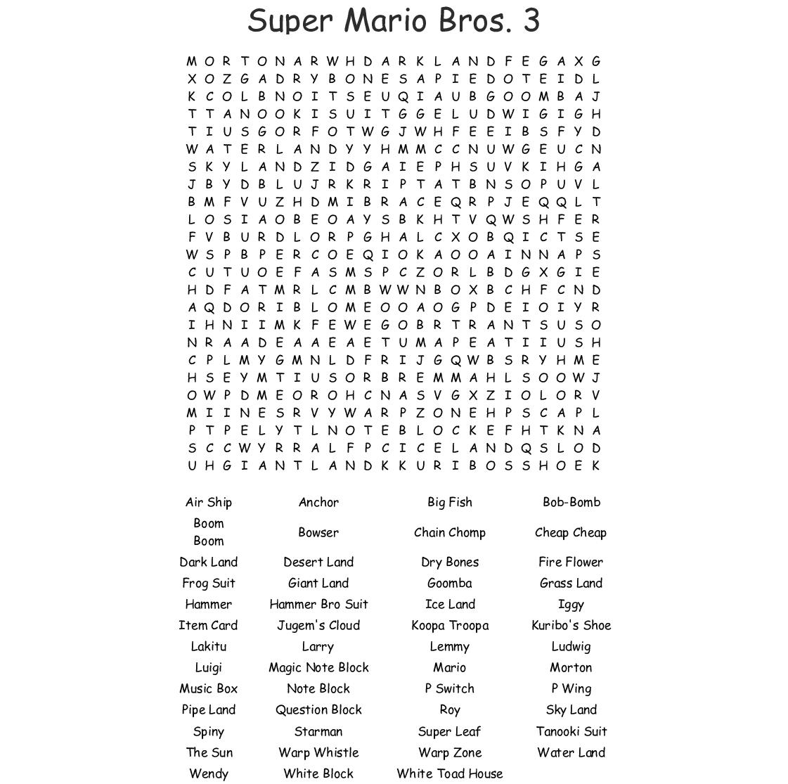 Super Mario Bros. 3 Word Search - Wordmint