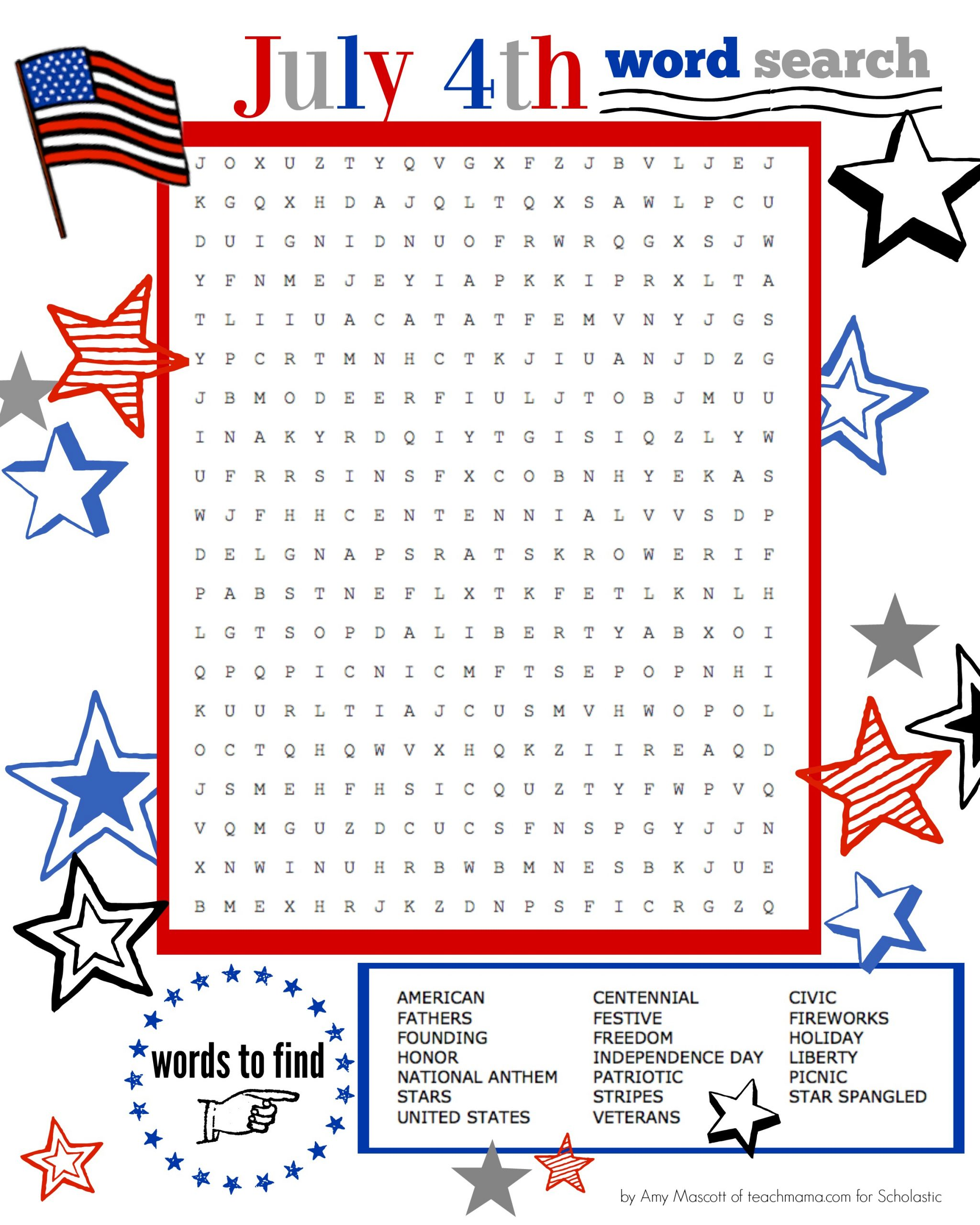Superstar Celebration: July 4Th Word Search Printable
