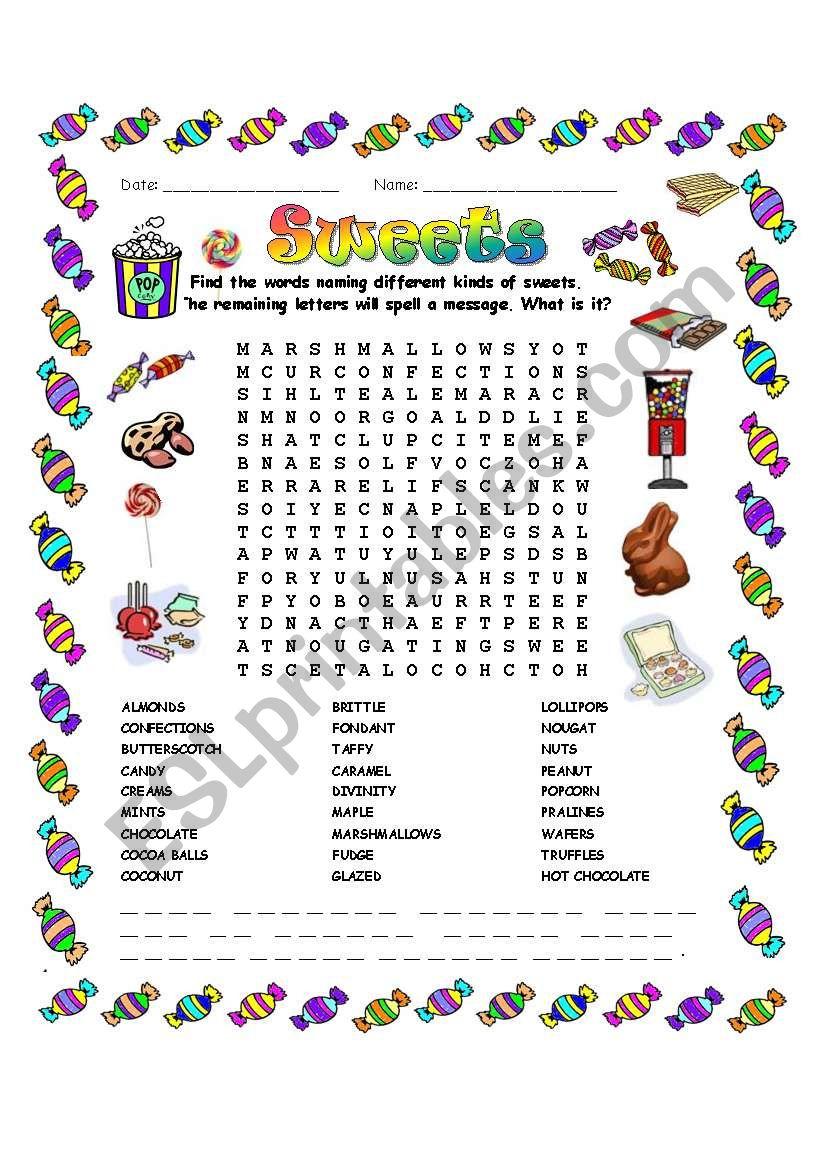 Sweets Word Search - Esl Worksheetmchretien