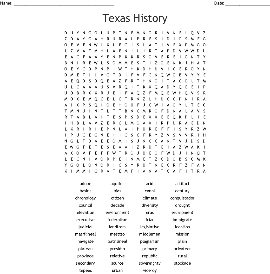 Texas History Word Search - Wordmint