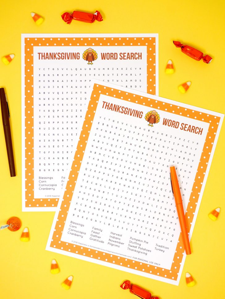 Printable Thanksgiving Word Search Games