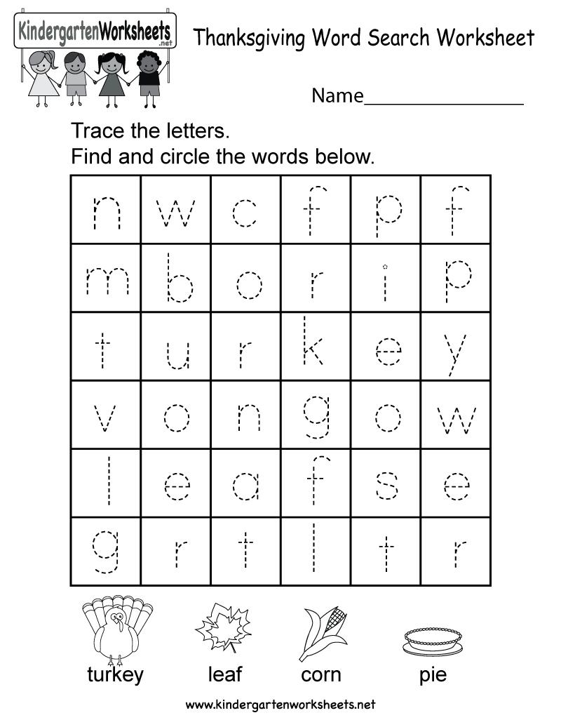 Thanksgiving Word Search Worksheet - Free Kindergarten