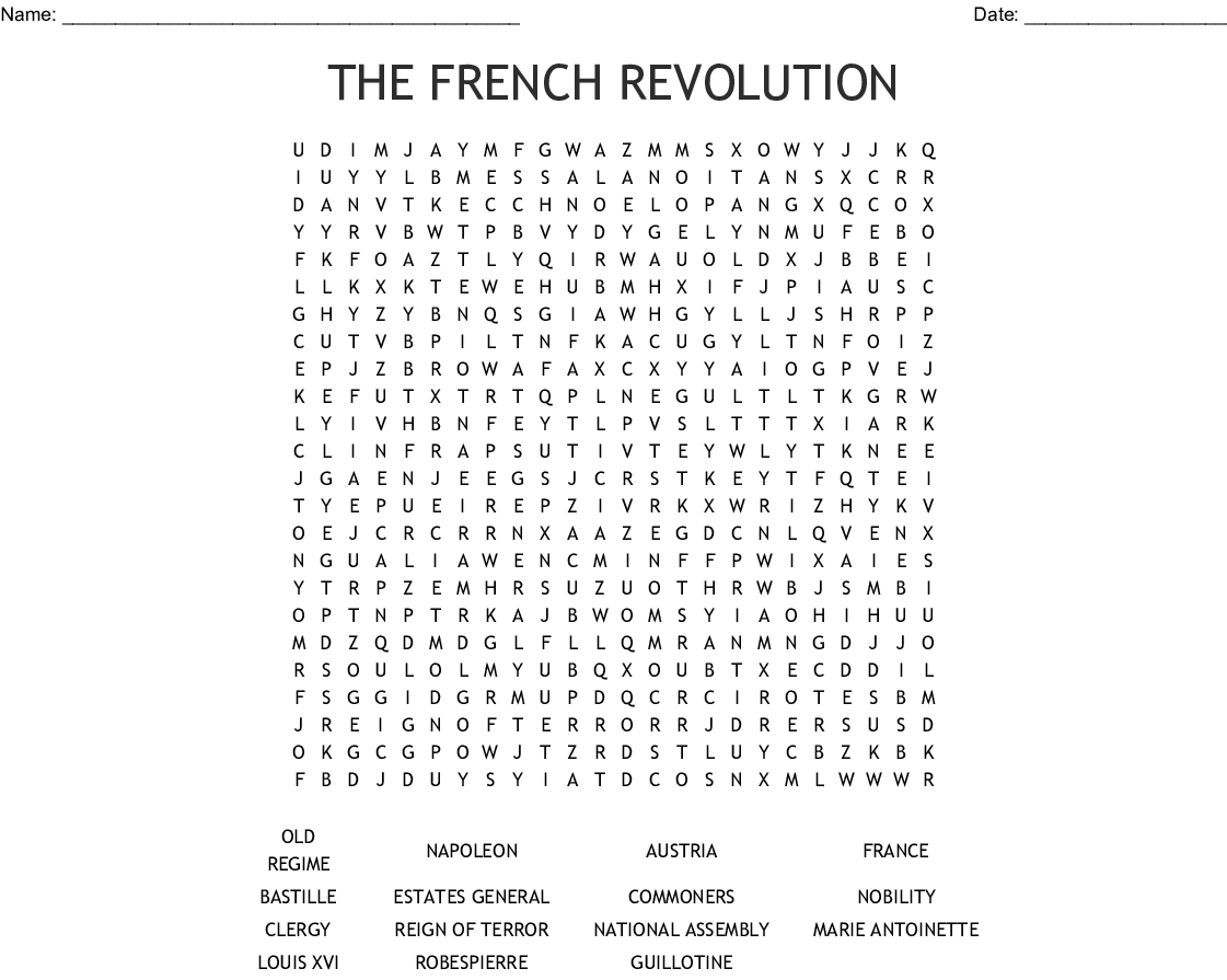 The French Revolution Word Search - Wordmint