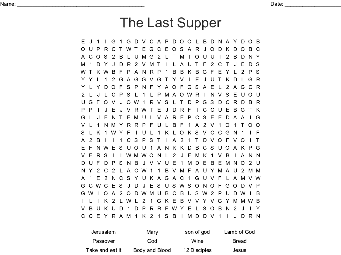 The Last Supper Word Search - Wordmint