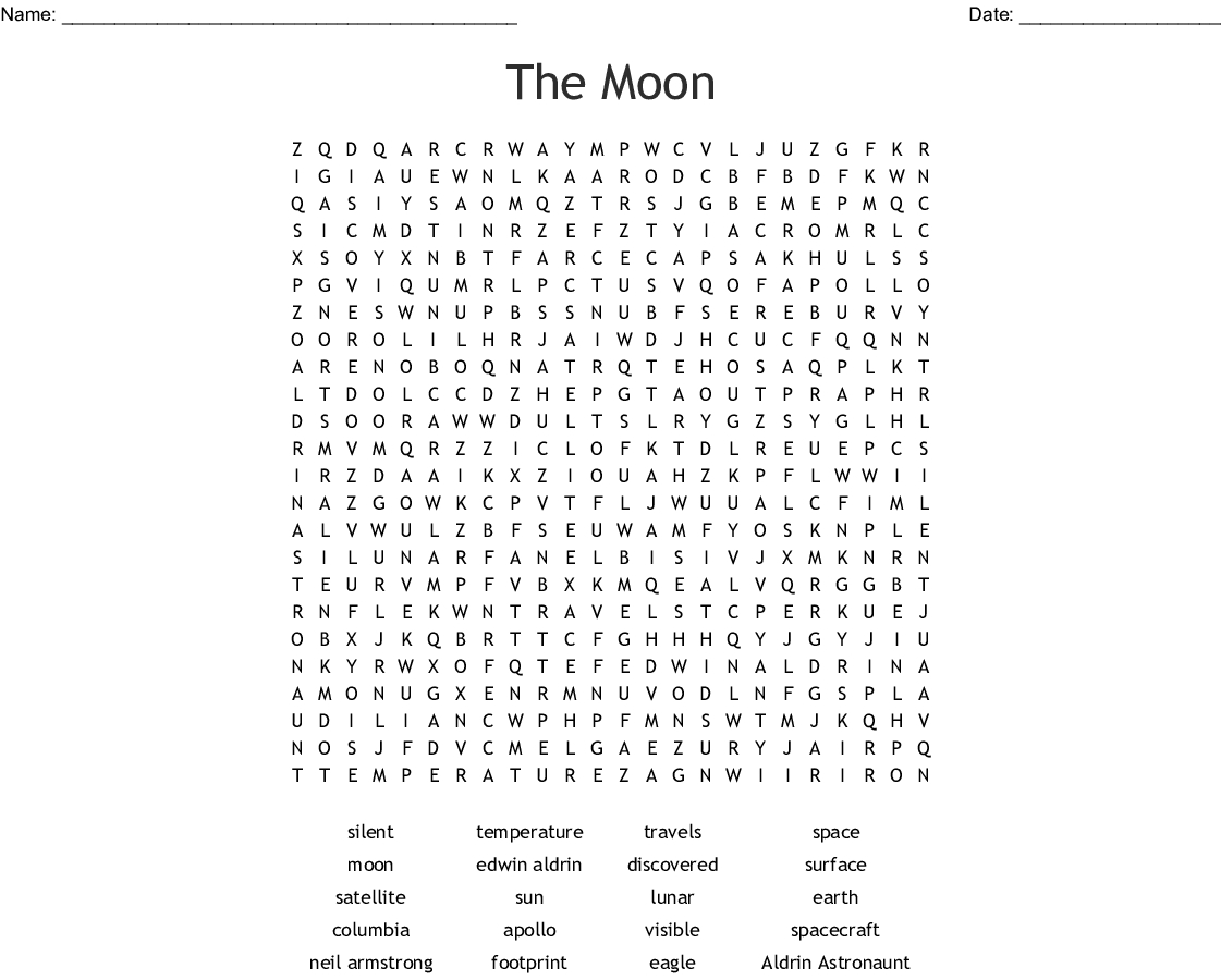 The Moon Word Search - Wordmint