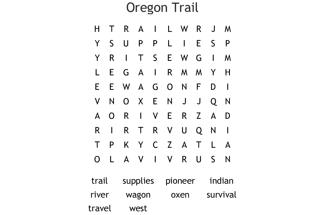 The Oregon Trail Word Search - Wordmint