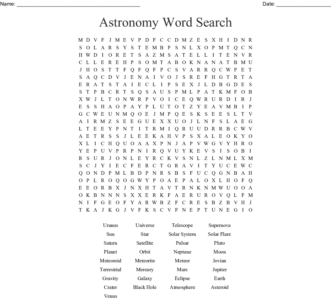 The Solar System Word Search - Wordmint