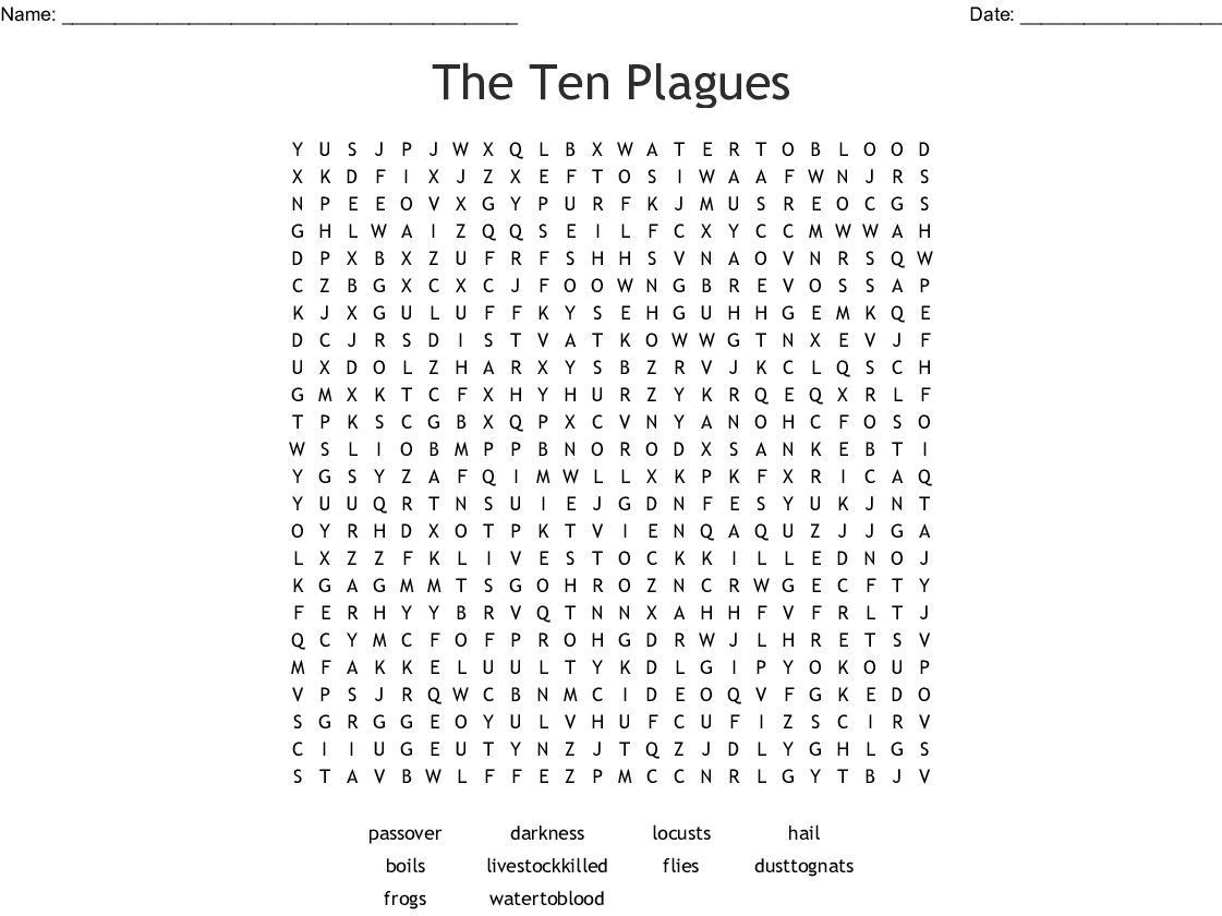 The Ten Plagues Word Search - Wordmint