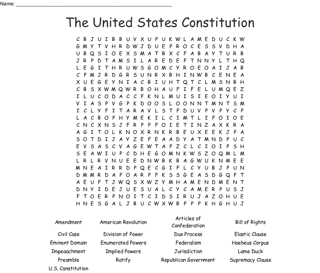 The United States Constitution Word Search - Wordmint