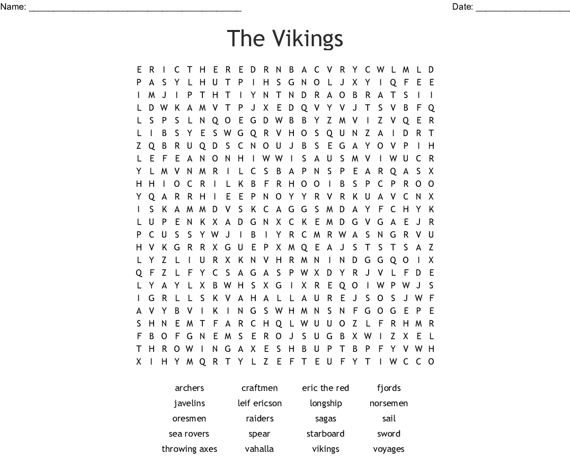 The Vikings Word Search - Wordmint