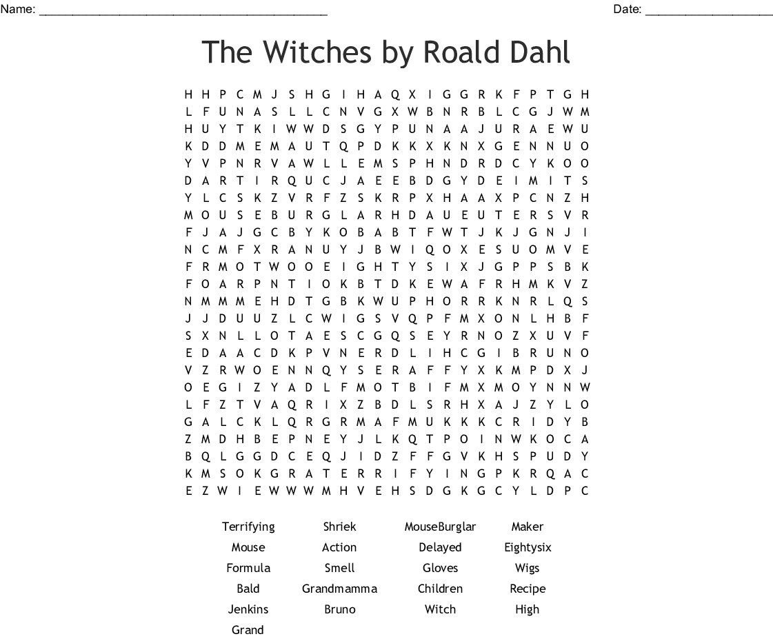 The Witchesroald Dahl Word Search - Wordmint