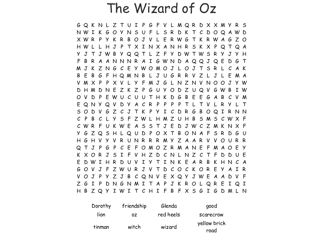 The Wizard Of Oz Word Search - Wordmint