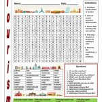 Tourism Wordsearch   English Esl Worksheets For Distance