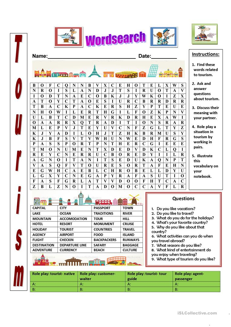 Tourism Wordsearch - English Esl Worksheets For Distance