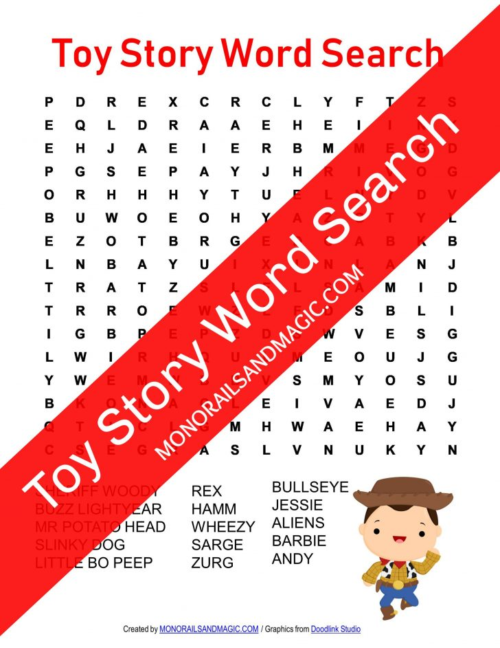 Toy Story Word Search Printable