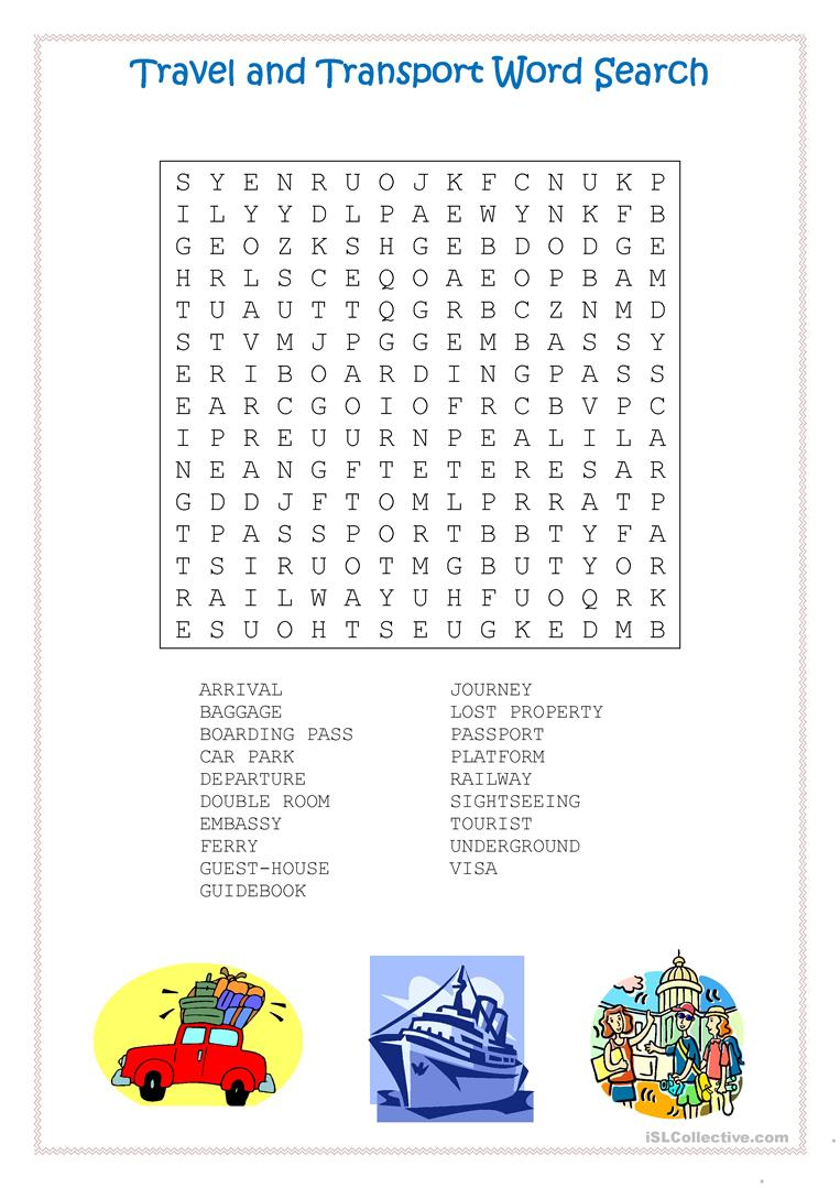 Travel And Transport Word Search - English Esl Worksheets