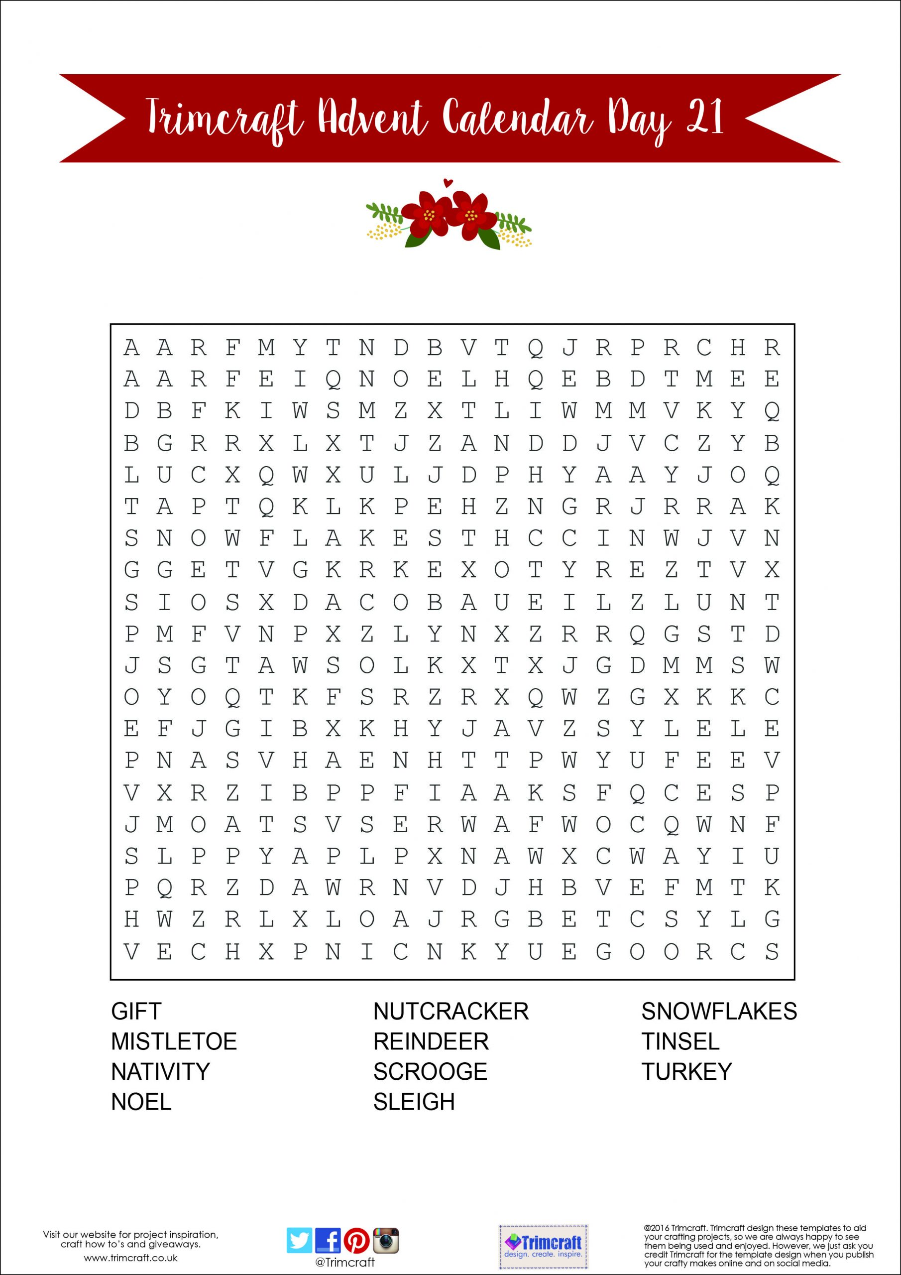 Trimcraft Advent Calendar Day 21- Free Printable Word Search