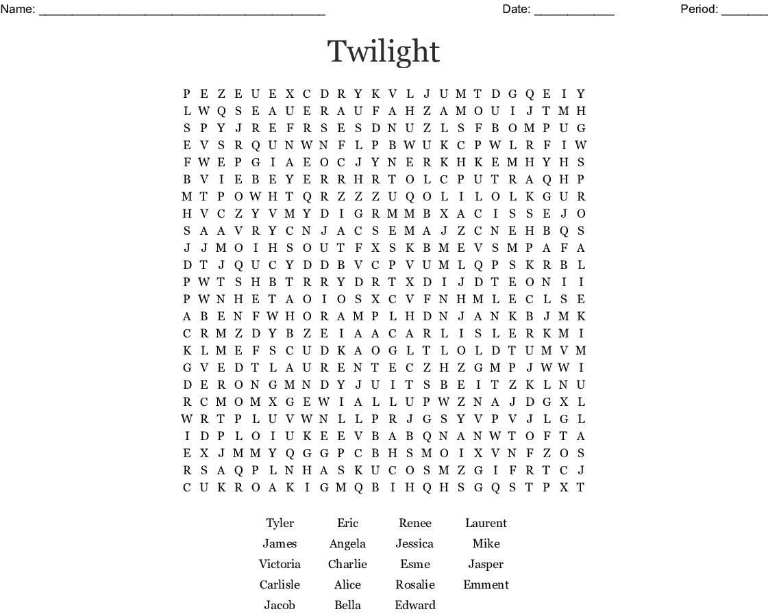 Twilight Saga Word Search - Wordmint