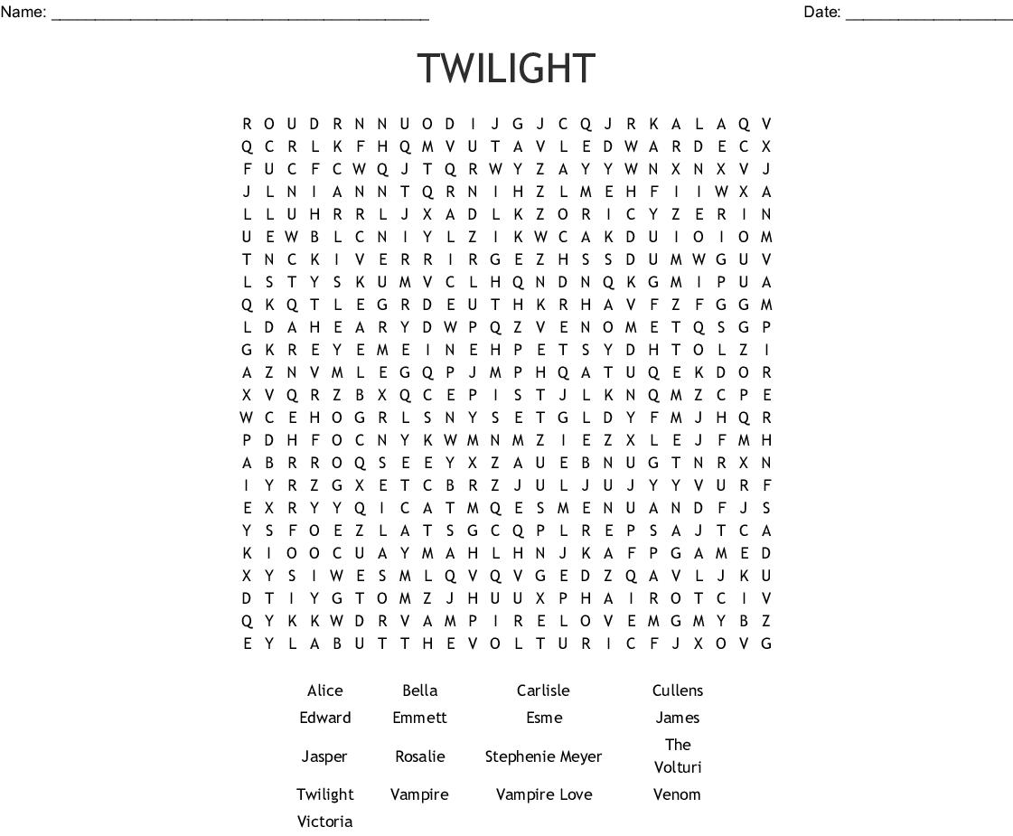 Twilight Wordsearch - Wordmint
