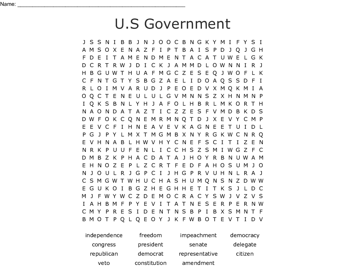 U.s Government Word Search - Wordmint