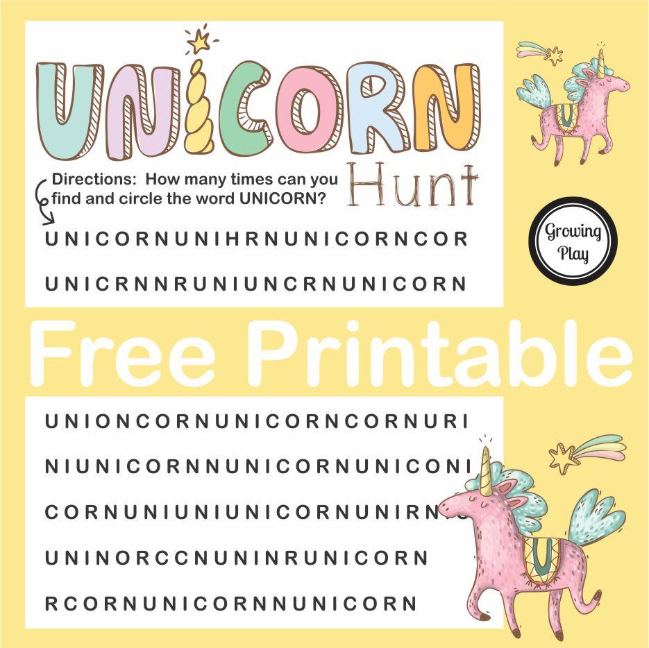 Unicorn Hunt Word Find Free Printable - Growing Play