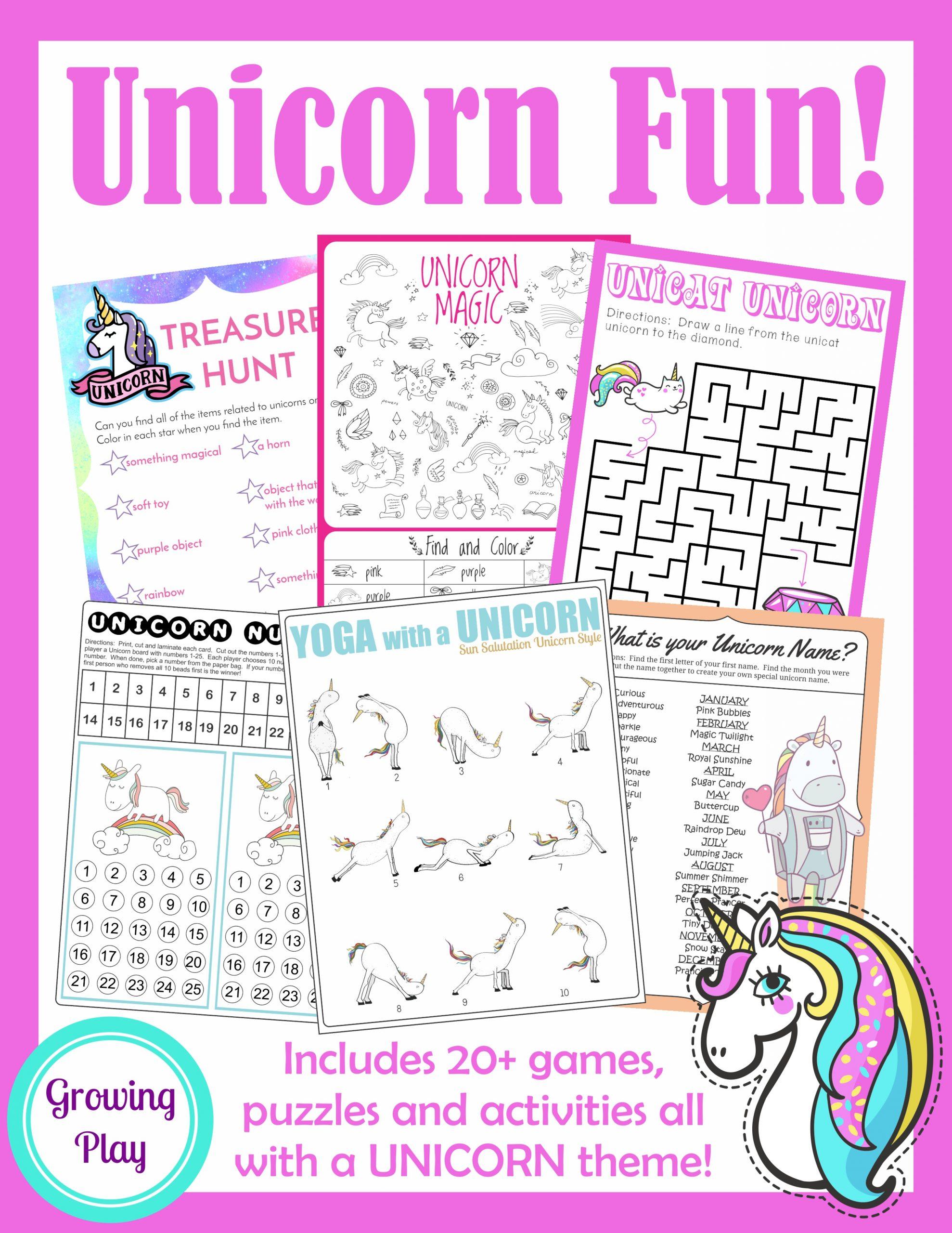 Unicorn Word Search - Free Pdf Printable - Growing Play