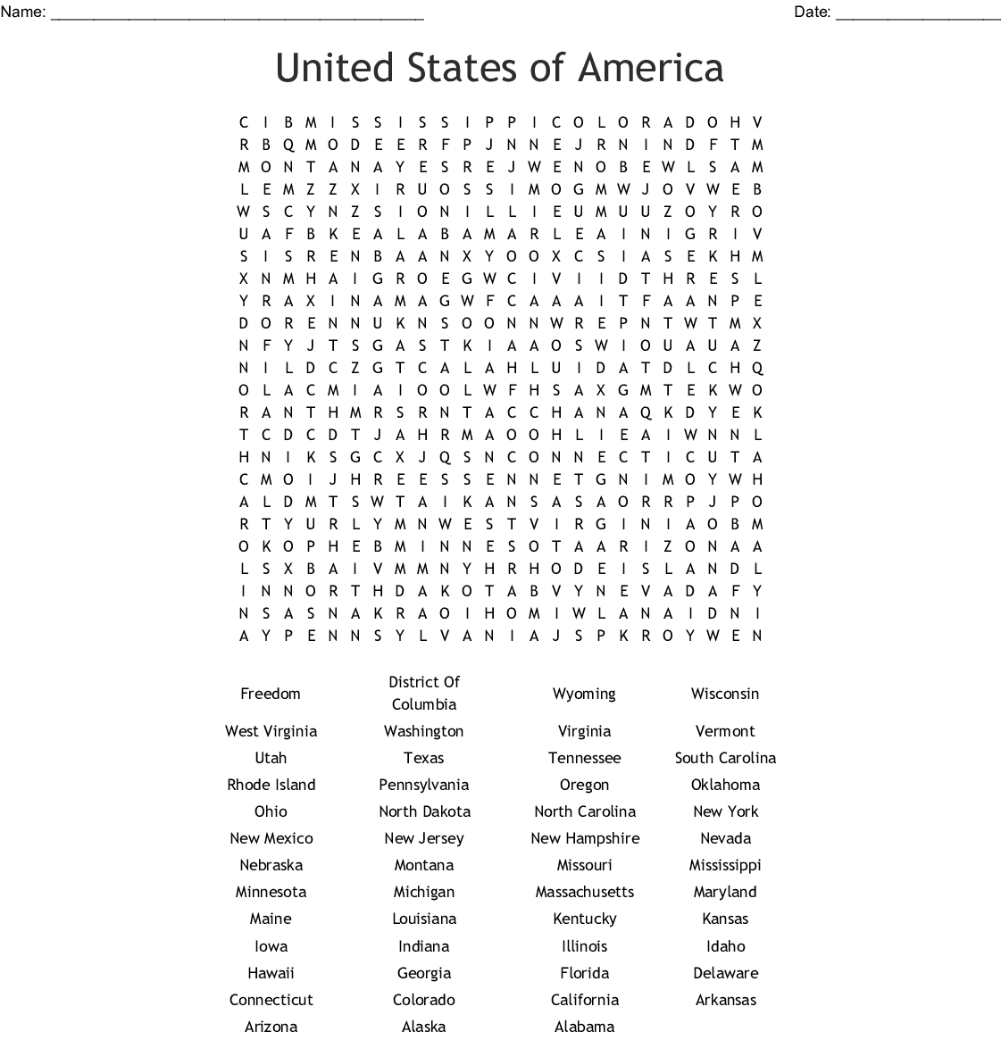 United States Of America Word Search - Wordmint