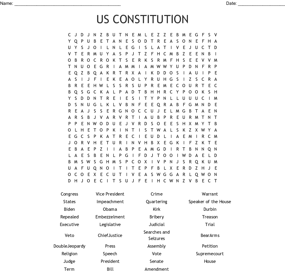 Us Constitution Word Search - Wordmint