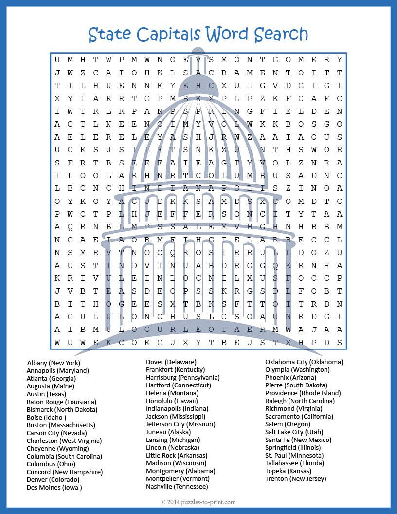 Us Geography Worksheet - State Capitals Word Search Fun