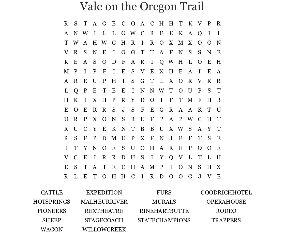 Vale On The Oregon Trail Word Search - Wordmint