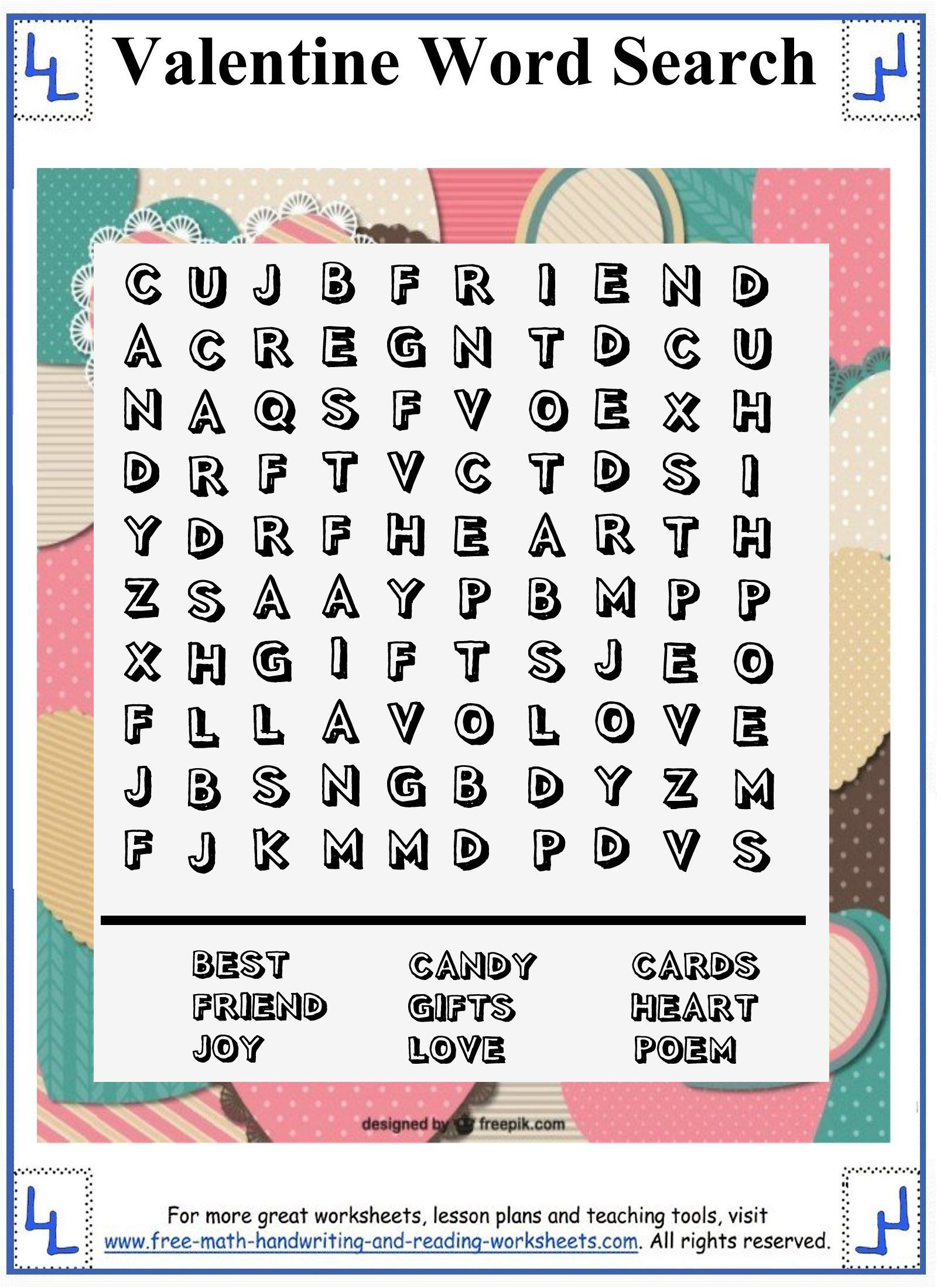 Valentine Word Search - Printable Puzzles | Valentines Word