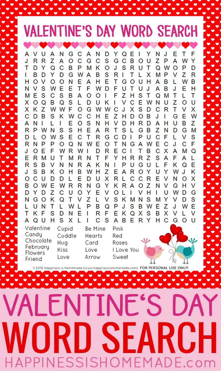 Valentine's Day Word Search Printable - Happiness Is Homemade