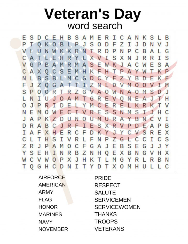 Veterans Day Word Search Printable