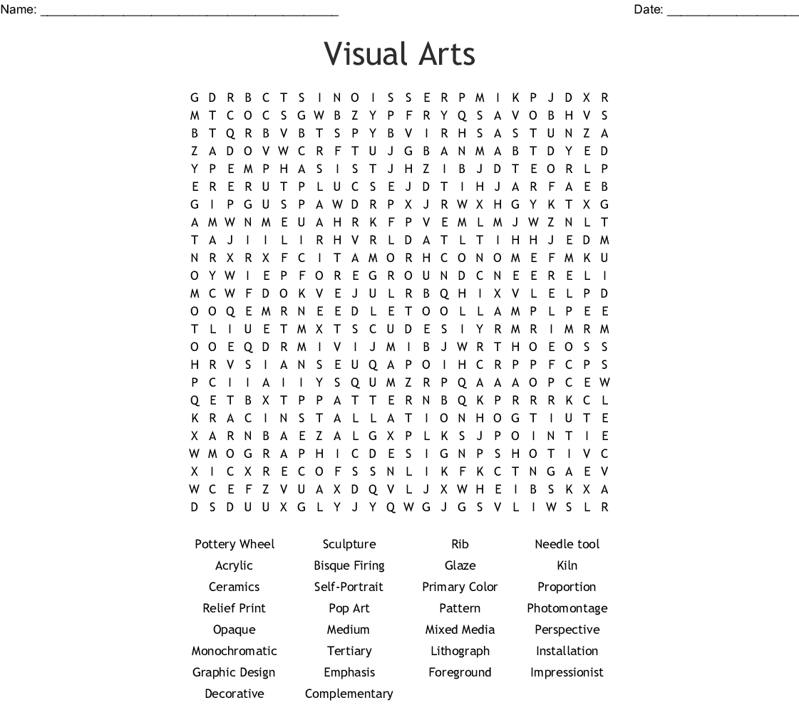 Visual Arts Word Search - Wordmint