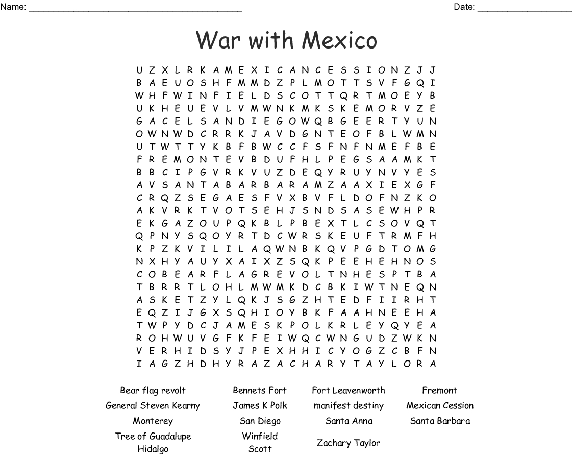 War With Mexico Word Search - Wordmint
