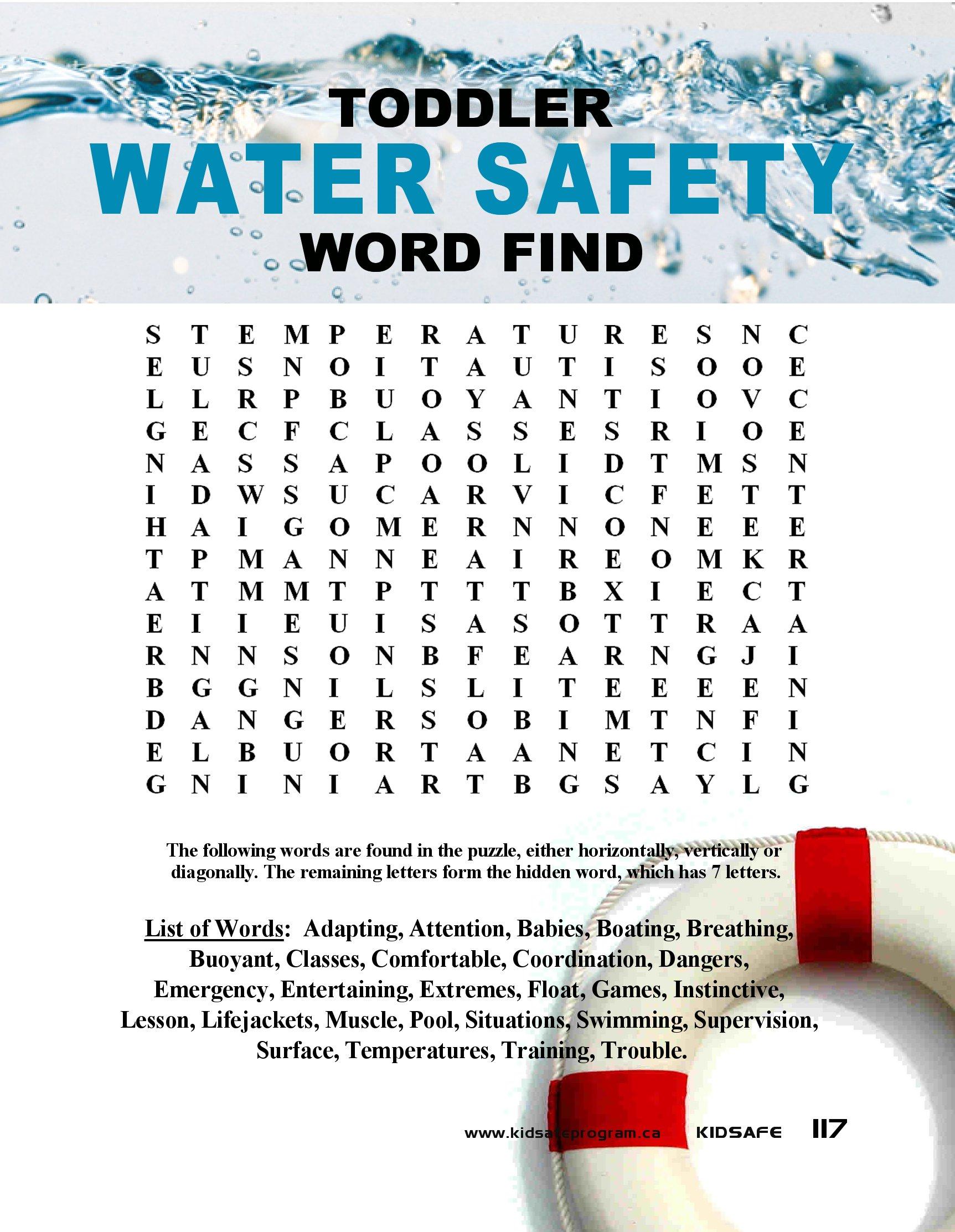 Water Safety Wordfind