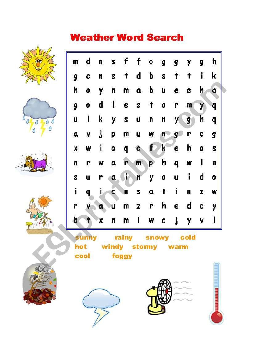 Weather Word Search - Esl Worksheetnguyenngocanh