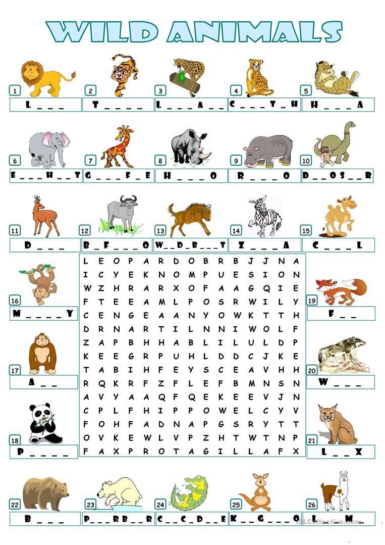 Wild Animals - Wordsearch | Animales En Ingles, Cuaderno De