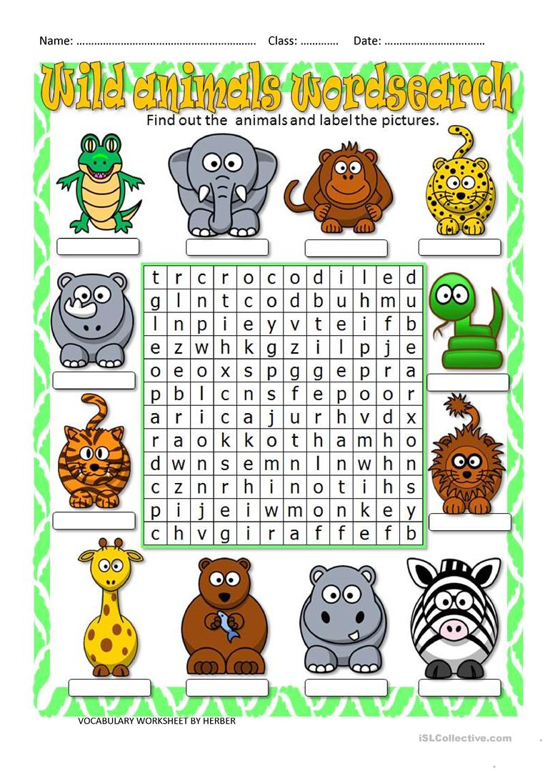 Wild Animals Wordsearch - English Esl Worksheets For