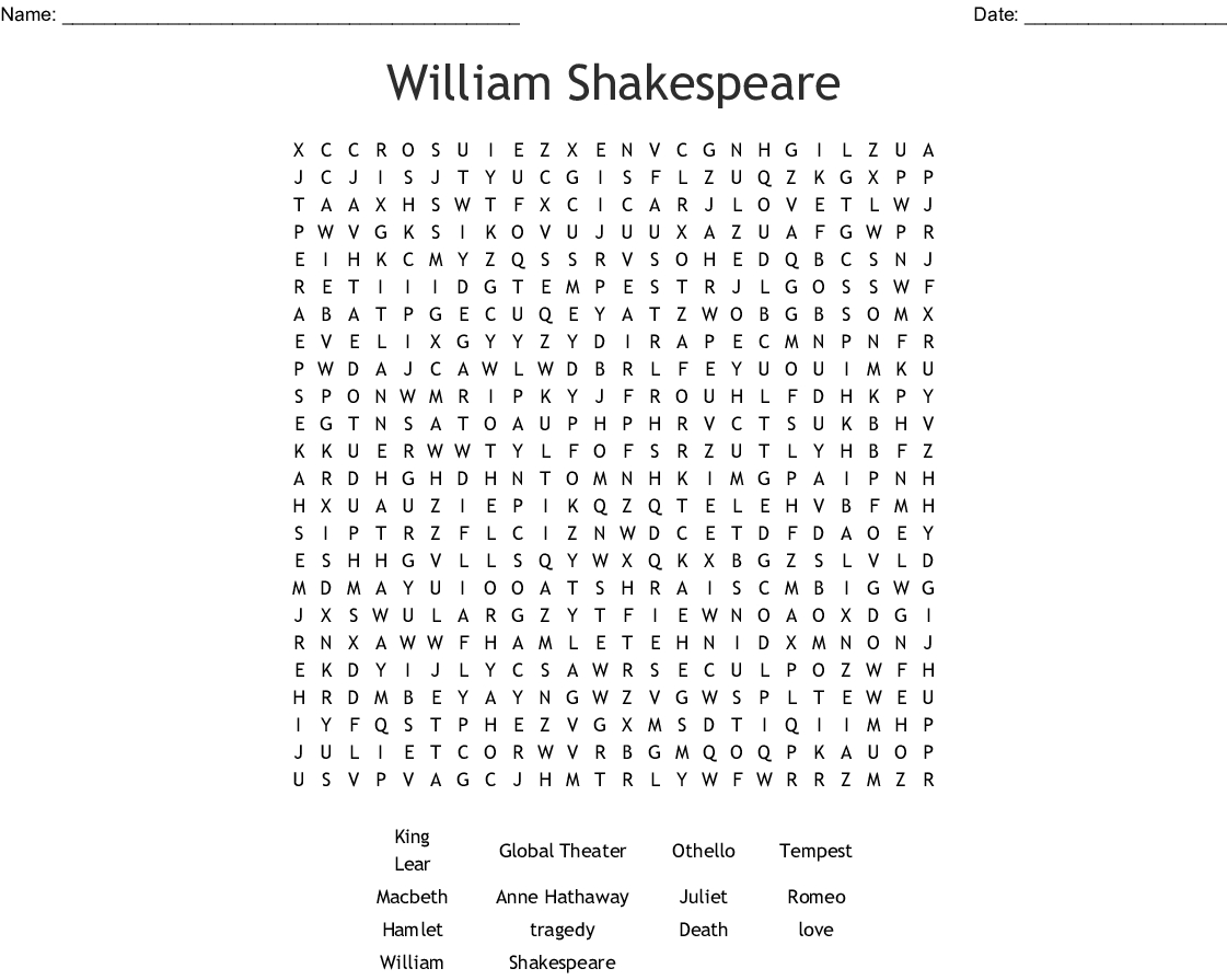 William Shakespeare Word Search - Wordmint