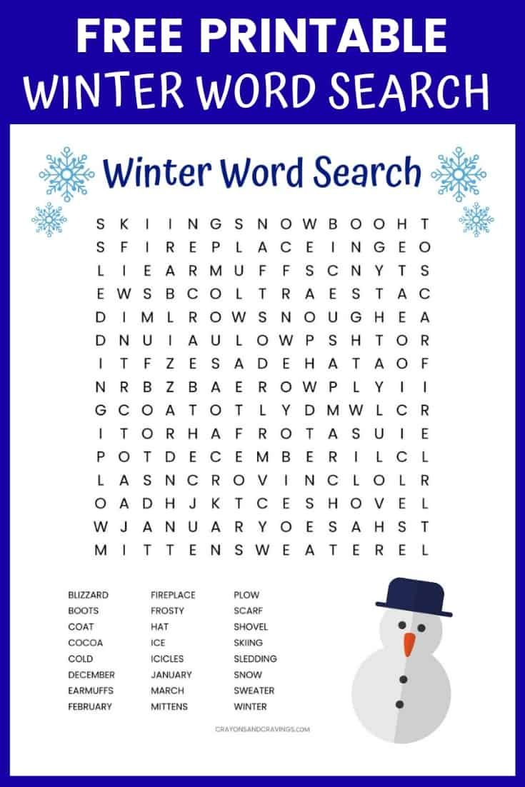 Winter Word Search Printable Worksheet With 24 Winter Themed