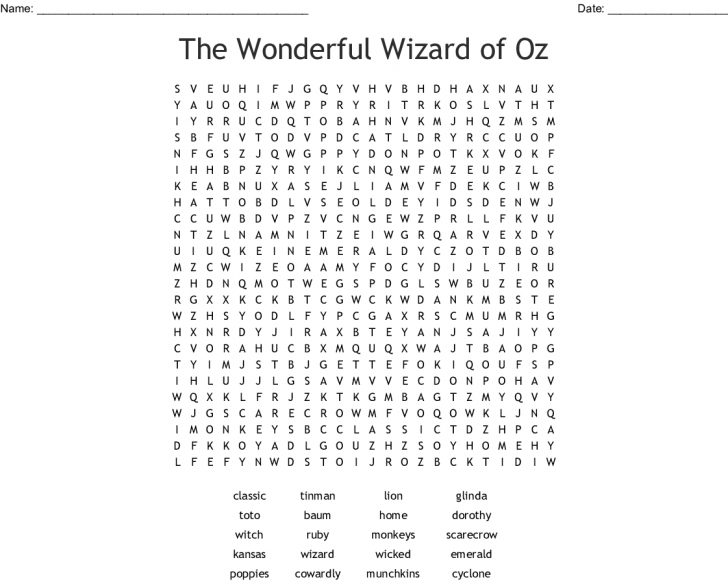 Wizard Of Oz Word Search Printable