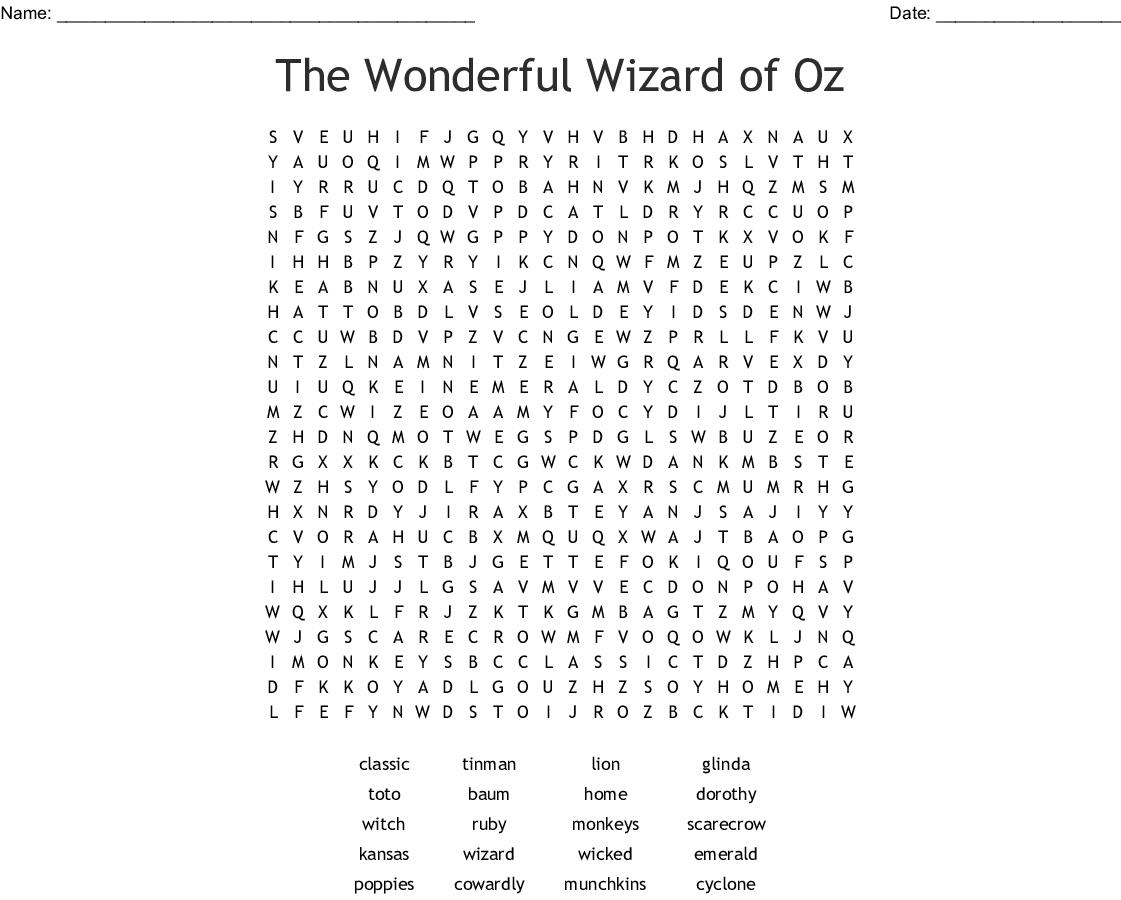 Wizard Of Oz Crossword Puzzle - Wordmint